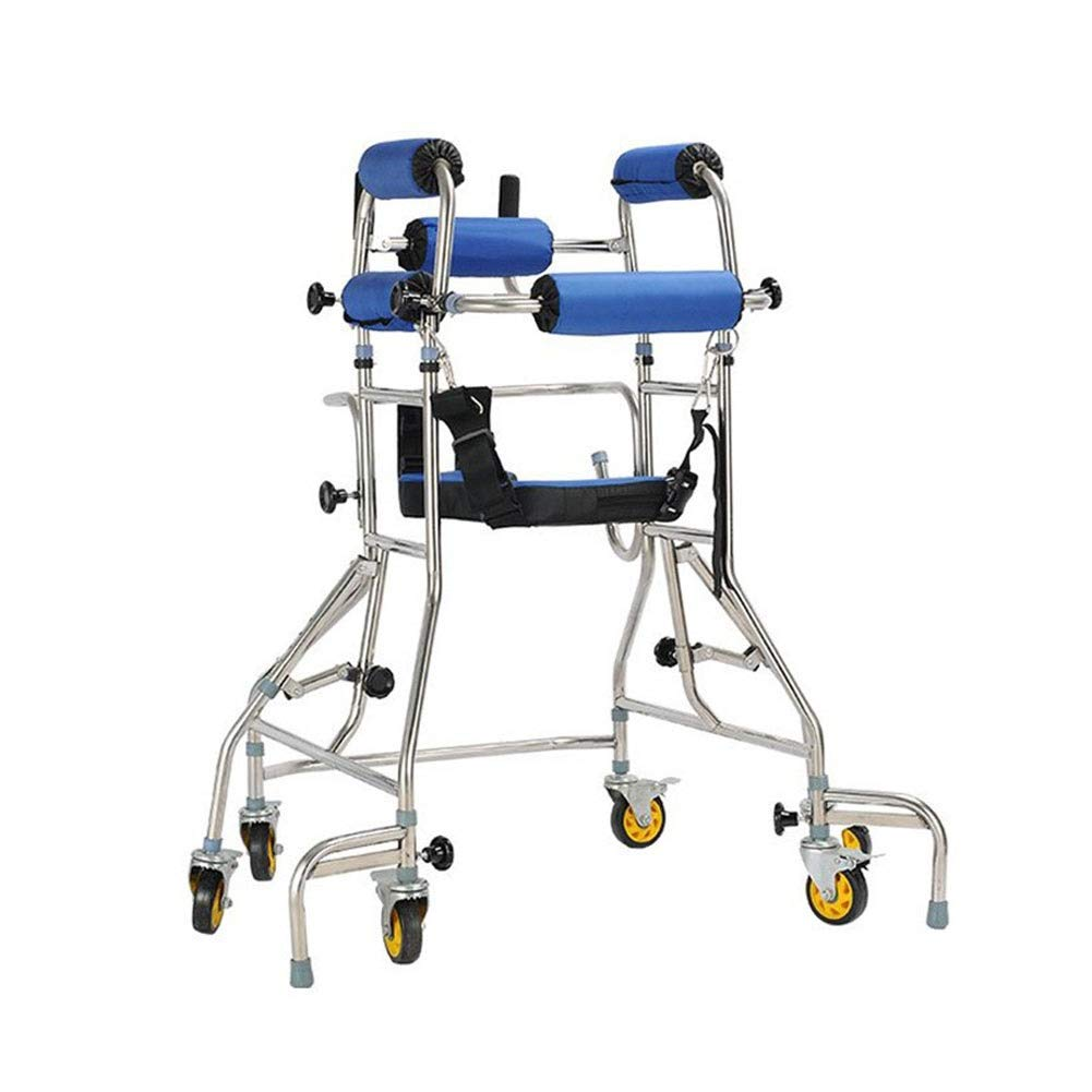Walker Stand, Child Adult Elderly Lower Limb Rehabilitation Aid Training Platform Walker, Directional Six-Wheel Lower Limb Disabled Slide by JLVNA