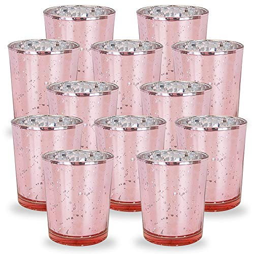 Blush Wedding Decor (Just Artifacts Mercury Glass Votive Candle Holders 2.75-Inch Speckled Blush (Set of 12) - Mercury Glass Votive Candle Holders for Weddings and Home)
