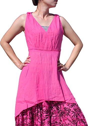 Full Funk Cross Cut Gypsy Boho Thai Cotton Ladies Shirt, Small, Pink ()