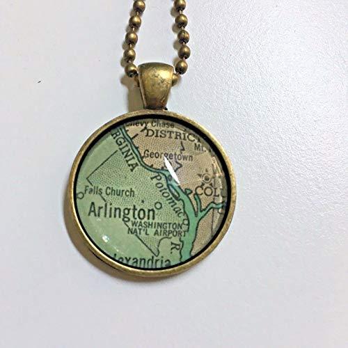 Arlington Virginia USA Alexandria Map Necklace Pendant Bronze VNTG Atlas GH-406