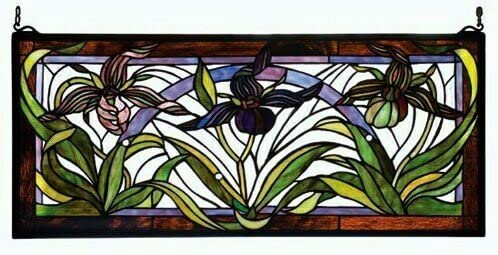 Meyda Tiffany Wildflower Lady Slippers Tiffany Glass Window 22928