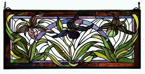 Meyda Tiffany Wildflower Lady Slippers Tiffany Glass Window 22928