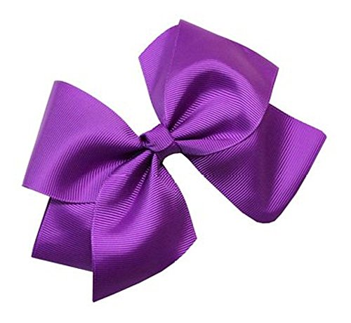 Beautiful Handmade Variety of Bright Colors Grosgrain Ribbon Bows with Alligator Clip (Purple)