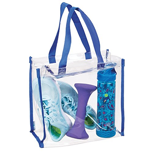 mDesign Bolsa de deporte para equipación deportiva, ropa, accesorios – Bolso transparente / Detalles en azul – Bolsa impermeable para colgar al hombro