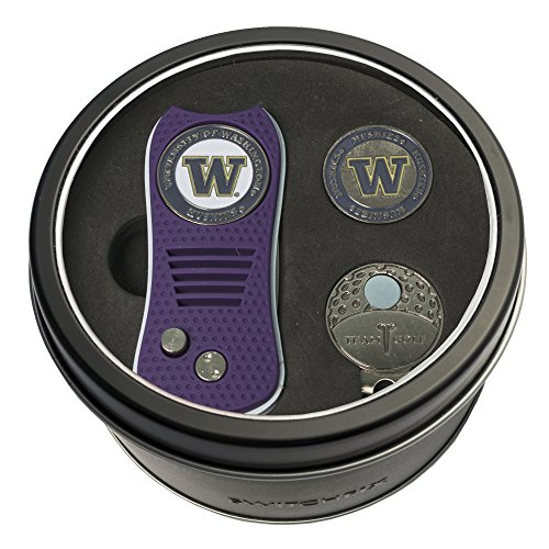 Team Golf NCAA Washington Huskies Gift Set Switchblade Divot Tool, Cap Clip, & 2 Double-Sided Enamel Ball Markers, Patented Design, Less Damage to Greens, Switchblade Mechanism