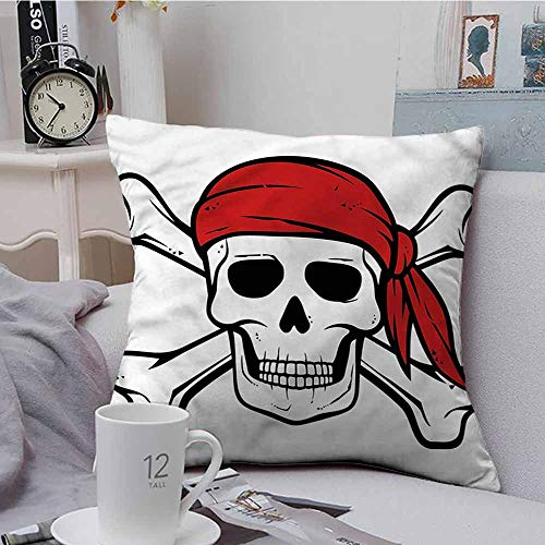 Fbdace Velvet Throw Pillowcase Pirate Skull and Crossbones Bandit Resists Stains, Wrinkles 20 X 20 Inch