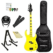 Dean Guitars CZONE BASS YEL-KIT-1 4-String Bass Guitar Pack