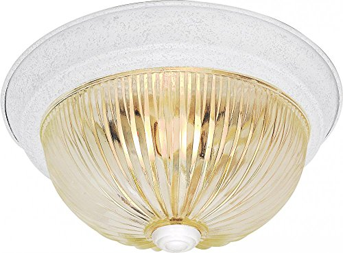 Nuvo SF76/193 15-Inch Textured White Flush Dome with Clear Ribbed Glass (15 White Ribbed Glass)