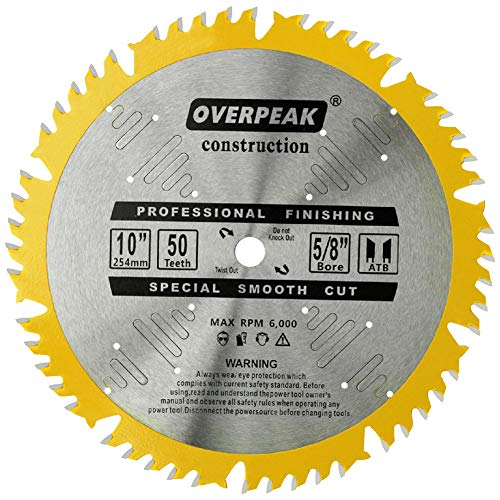 Overpeak 10 Inch Circular Saw Blade ATB Carbide Ultra Finishing Cutting Plywood 50 Tooth Table Saw Blades with 5/8-Inch Arbor