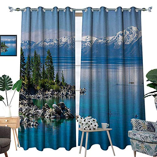 RenteriaDecor Landscape Patterned Drape for Glass Door Blue Waters of Lake Tahoe Snowy Mountains Pine Trees Rocks Relax Shore Waterproof Window Curtain W120 x L84 Light Blue Green ()