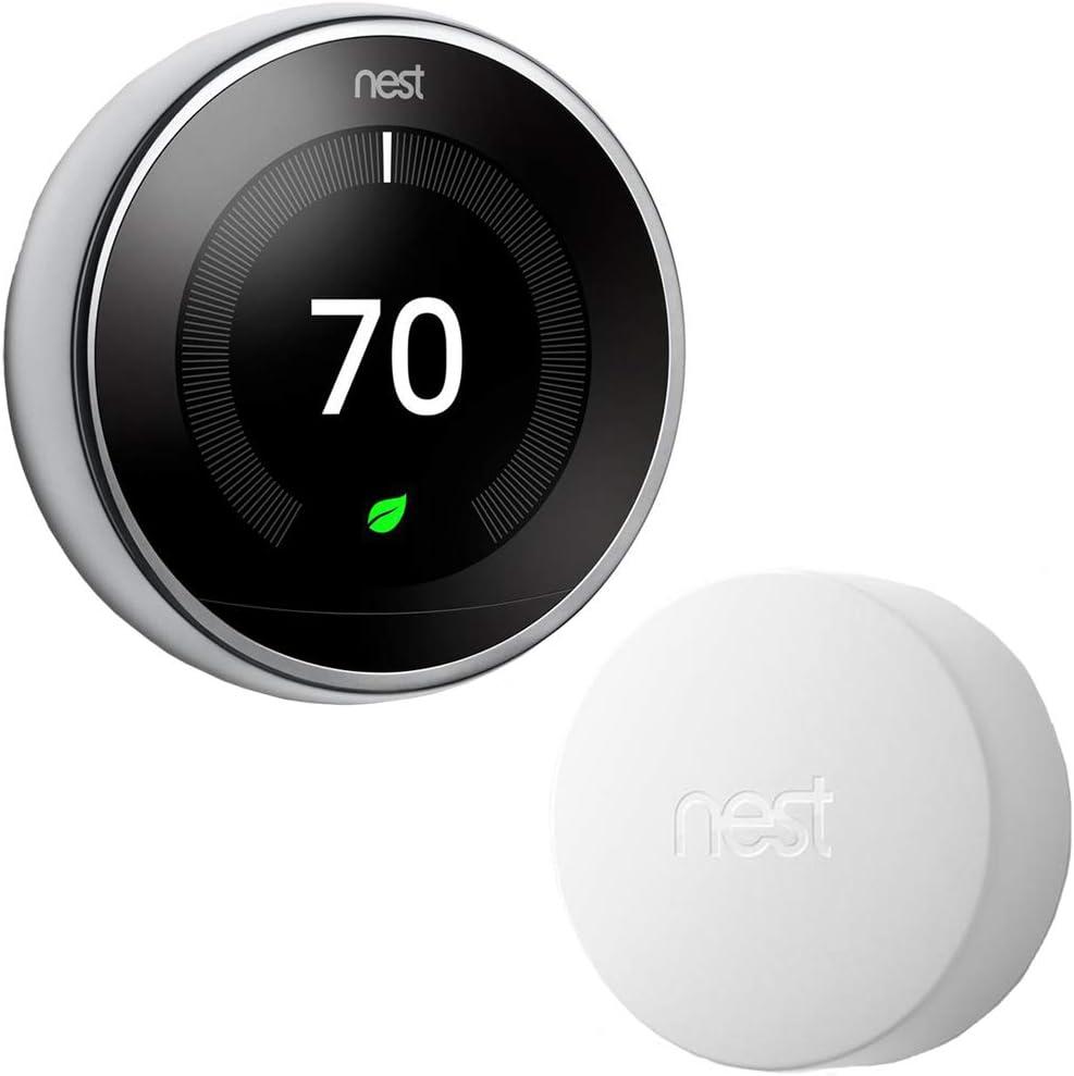 Google Nest T3019US Learning Thermostat 3rd Gen Smart Thermostat, Polished Steel Bundle with Google Nest Temperature Sensor