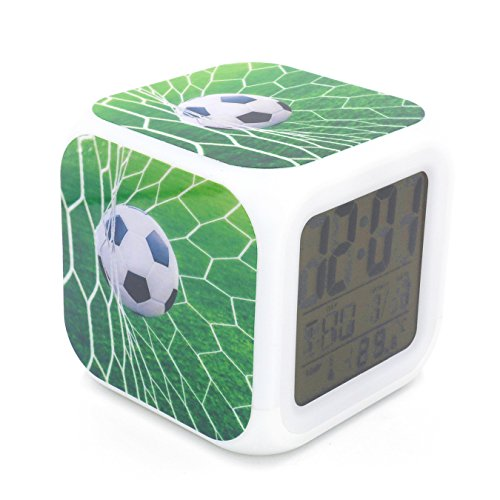 BoFy Led Alarm Clock Football Soccer Goal Sports Green Personality Creative Noiseless Multi-functional Electronic Desk Table Digital Alarm Clock for Unisex Adults Kids Toy Gift - Crystal Football Clock