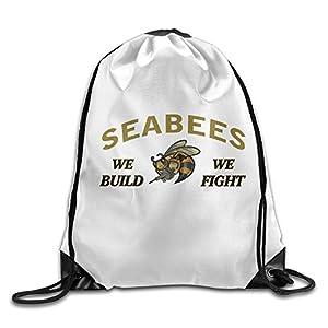 Gym Drawstring Backpack Travel Bag Navy Seabees by tag1 fjgho
