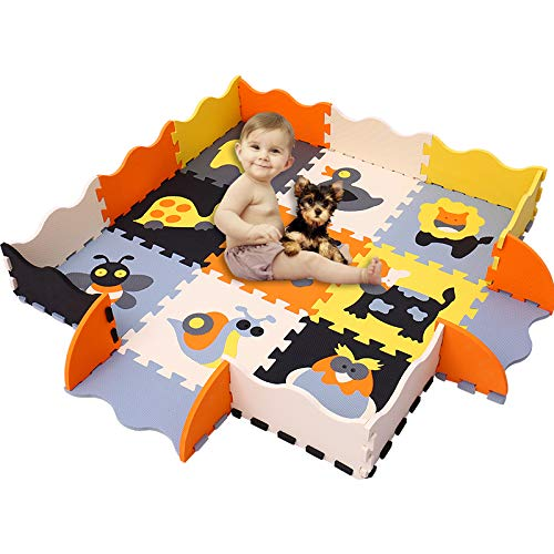 HAN-MM Baby Foam Mat with Fence Non Toxic Crawl Mat Baby Tiles Play Puzzle Mat with Softer Thicker EVA Foam Mat for Kids Toddlers Babies Playrooms/Nursery Tummy Time and Crawling Style 11