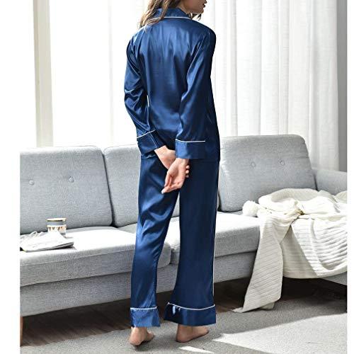 Tela Darkblue1 Noche Piezas 2 Ropa Seda Mujeres Marca Bolawoo Mode Loungewear Satén Las Largo Simple Imitado Dormir Clásico Pijamas De Juego pHRxURan