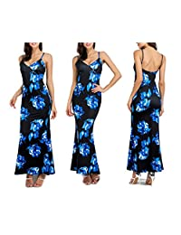 Women's Summer Strappy Floral Print Beach Dresses Party Evening Maxi Long Dress