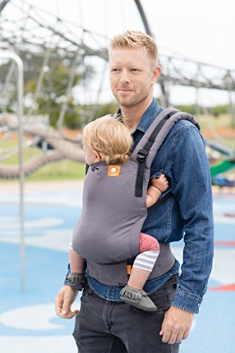 Baby Tula Free-to-Grow Baby Carrier 7 45 lb, Adjustable Newborn to Toddler Carrier, Ergonomic Inward Front and Back Carry, Easy-to-Use, Lightweight Stormy, Gray
