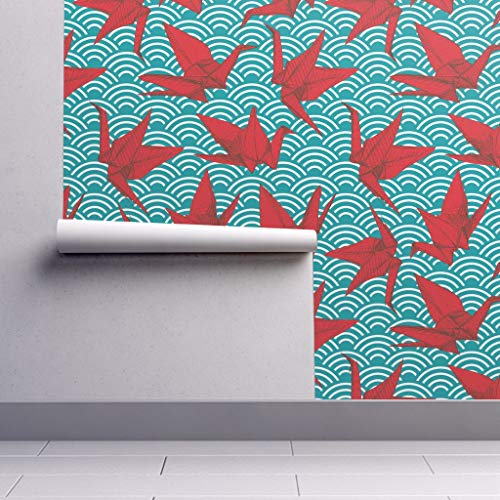 Peel-and-Stick Removable Wallpaper - Cranes Origami Bird Sea Ocean Japan Japanese Seigaiha by Ekaterinap - 24in x 108in Woven Textured Peel-and-Stick Removable Wallpaper Roll