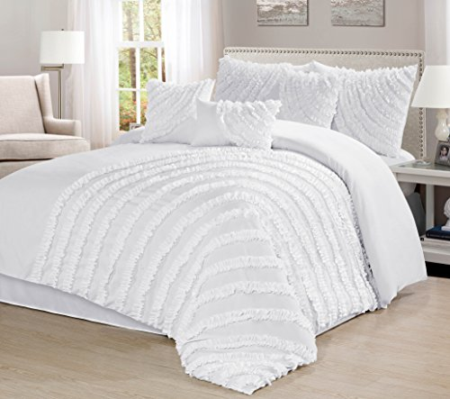 7 Piece Hillary Bed in a Bag Ruffled Comforter Sets- Queen King Cal.KingSize (King, White) (Size In Bed A Bag King White)