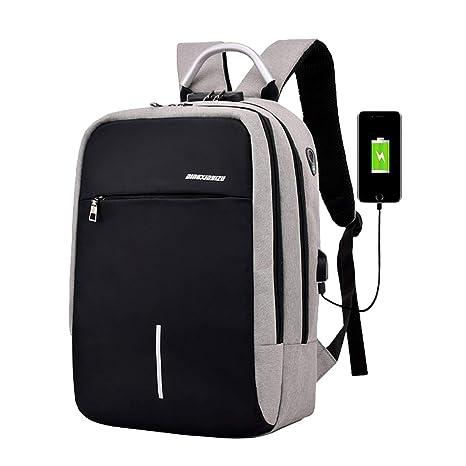 LINNUO Mochila para Portátil Antirrobo Mochilas de Ordenador con USB Cargador Mochilas de Senderismo Notebook Daypack