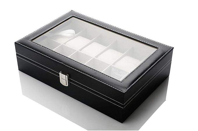 AB Watch - Caja de Almacenamiento para Joyas, Bandeja para Pulseras, Piel sintética, Color Negro: Amazon.es: Relojes