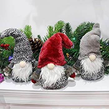Houwsbaby 3 Pcs Handmade Gnome Figurines Plush Swedish Tomte Nisse Christmas Santa Claus Elf Home Desktop Collectible Doll Stuffed Decor Holiday Party Supplies Table Ornament, Red, 11''