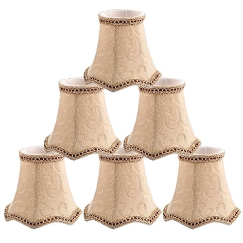 uxcell Chandelier Wall Ceiling Clip on Lamp Shades Light Cover 3x5.3x4.7 Inch, Set of 6 Beige