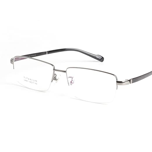 71ad009d12d5 Amazon.com: Pure Titanium Eye Glasses Super Quality Light Glasses Eyeglasses  Men Semi Frame Eyewear Oversize Frames for Men: Clothing