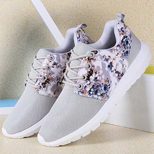 Respirant Sneakers Mocassins Top Imprimer Femme Mesh Plateforme Trainers Fleur Cuir Femmes Chaussures Trydoit Décontractées Gris Low dtPqP