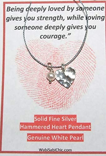 Fine Silver Hammered Heart Pendant, White Baroque FW Pearl, Cord Necklace