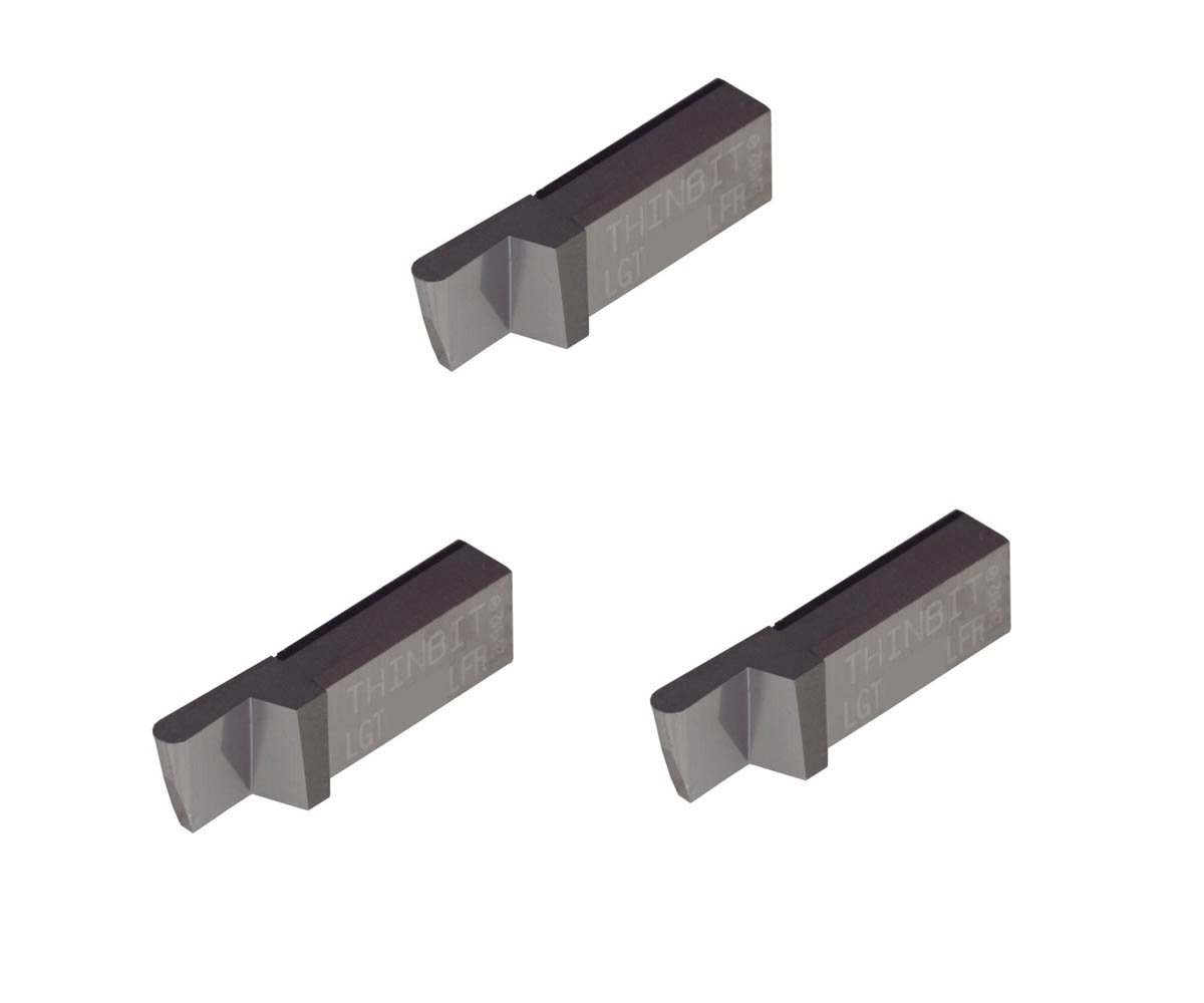 THINBIT 3 Pack LGT077D2LCR010F 0.077 Width 0.192 Depth Corner Radius 0.010 Diamond Film Coated Carbide Grooving Insert for Aluminum Copper Brass Graphite Carbon Plastics with Interrupted Cuts