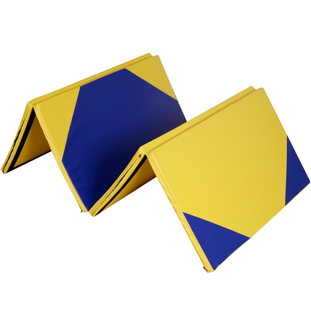 4'x10'x2'' Gymnastics Mat Thick Folding Panel Gym Fitness Exercise Yellow/Blue TKT-11