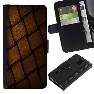 LASTONE PHONE CASE / Lujo Billetera de Cuero Caso del tirón Titular de la tarjeta Flip Carcasa Funda para Samsung Galaxy S5 V SM-G900 / Braid Basket Pattern Design Material Structure