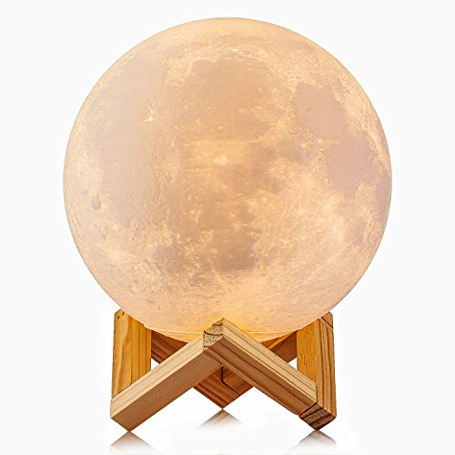 3D Printed Moon Lamp LED Baby Night Light HeQiao Table Desk Lamp USB Charging Wooden Base Tap Control 3-colors Lunar Lamp for Bedroom Birthday Decoration (Diameter 5.9 Inch)