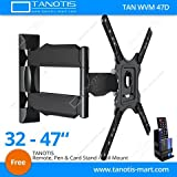 "Tanotis 6 Way Swivel Tilt Tv Wall Mount For Lcd/Led Tv'S Upto 32"" To 47"" Inch For Flat Wall Or Corner Mounting With Vesa Upto 400 Mm Tan Wvm 47D + Free Tanotis Remote Stand Tan Acc Rms"