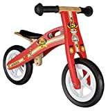 BIKESTAR Original Safety Wooden Lightweight Kids First Balance Running Bike with air tires for age 2 year old boys and girls | 10 Inch Edition | Firefighter Red