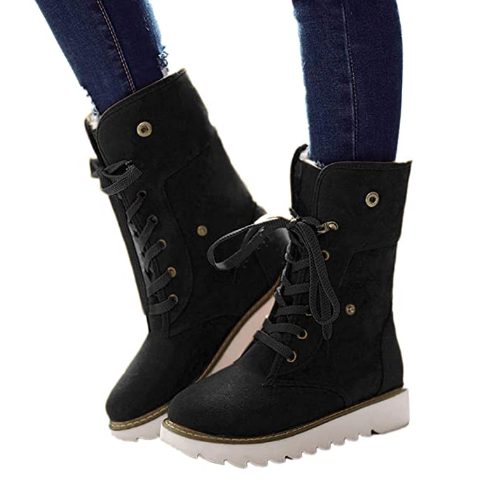 JOYTO Winter Boots Womens Fur Lined Ladies Snow Ankle Boots Flat Suede Fold Down Warm Wedge Bootie Comfort Anti Slip Lace Up Black Brown Beige Yellow