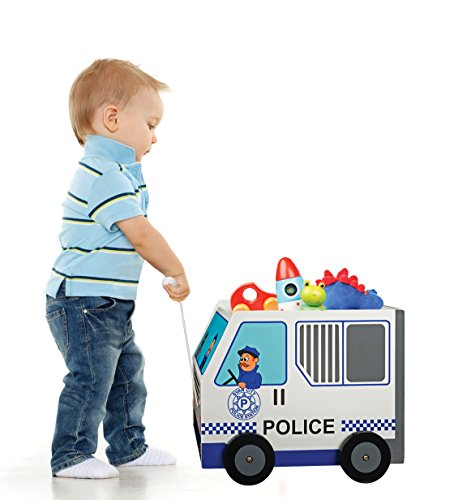 Babys Red Wagon - Wooden Pull Along Toy Chest Box with Wheels - Solid Wood Wagon Police Car (11.8X15.75X13.2 inches)