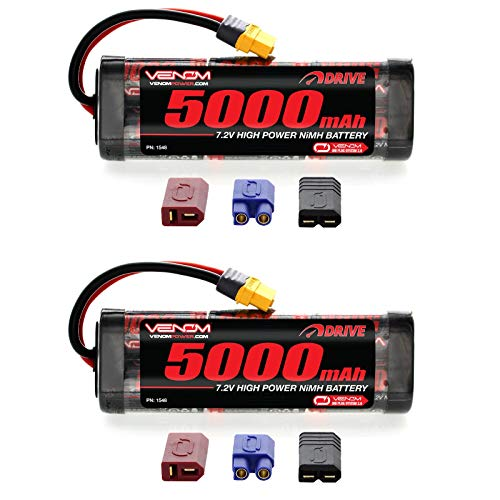 Venom 7.2V 5000mAh 6-Cell NiMH Battery with Universal 2.0 Plug (Traxxas / Deans / EC3) x2 Packs ()