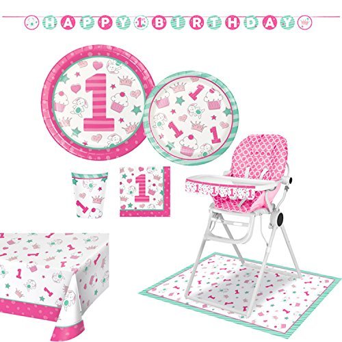 Baby's 1st Birthday Party Supplies for Girls - Super Deluxe Partyware Kit, Includes 8 Luncheon Plates, 8 Dinner Plates, 16 Luncheon Napkins, 8 Cups, 1 Banner, 1 Tablecloth, 1 High Chair Kit