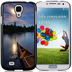Beautiful Unique Designed Samsung Galaxy S4 I9500 i337 M919 i545 r970 l720 Phone Case With River Boat Sunset Silky Water_Black Phone Case