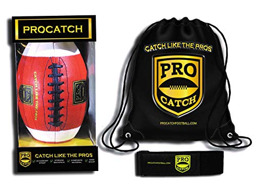 Pro Catch Football (Black) Official - Training Aid to Improve Catching Skills - Free Backpack.