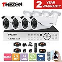 TMEZON AHD 4CH 1080P DVR Security System with 4x 2.0MP AHD IR In/Outdoor Bullet Cameras Free App NO HDD