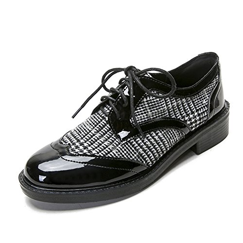 LANSHULAN Womens Juniors Spring Lace Up Brogue Oxfords Shoes Flats