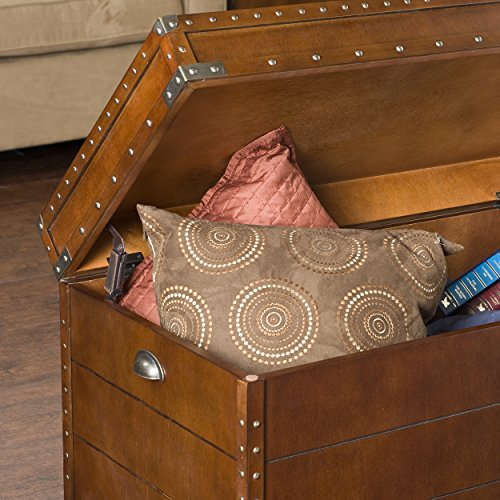 037732041919 - Southern Enterprises Steamer Storage Trunk Cocktail Table, Walnut Finish carousel main 2