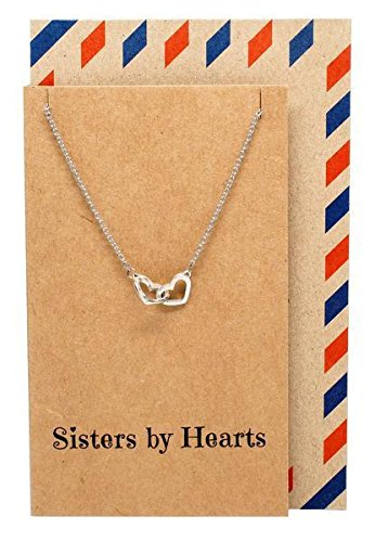 Quan Jewelry Interlocking Heart Sister Necklaces with Greeting Card, Big Sis, Little Sis BFF Birthday Gift Ideas, Silvertone