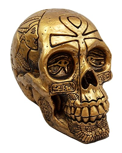 Ebros Gift Egyptian Gods and Kings Golden Nefertiti King TUT Ankh Skull Figurine 6.25 L Skeleton Cranium Gothic Macabre Ossuary Statue Deities of Egypt Pharaoh Dynasty Decor