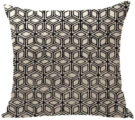 Image ofcaogsh - Funda de cojín con Estampado 3D para sofá, diseño geométrico de Lino, Cuidado cómodo de la Cintura, Aproximadamente 18 x 18 Pulgadas @ Geometric34_4 Fundas de Almohada
