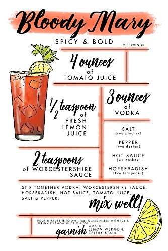 Bloody Mary - Cocktail Recipe (9x12 Art Print, Wall Decor Travel Poster) ()