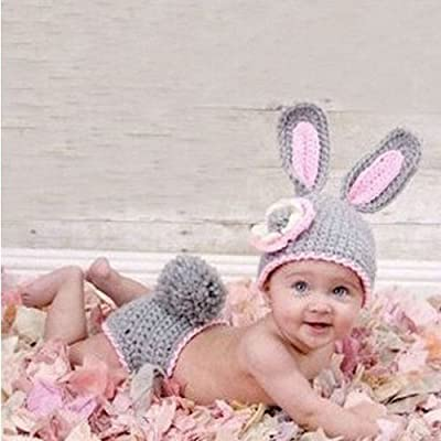 Infant Baby Girls and Boys Photography Poop Outfits with Barefoot Knit Sandal; Newborn Knit Hat Costume Set
